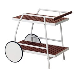 VINDALSÖ trolley, outdoor, white, brown stained eucalyptus Length: 81 cm Width: 51 cm Height: 71 cm