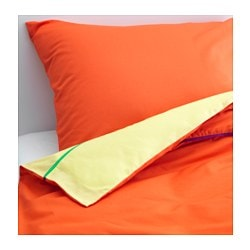 "STICKAT duvet cover and pillowcase(s), orange, yellow Thread count: 146 square inches Duvet cover length: 86 "" Duvet cover width: 64 "" Thread count: 146 square inches Duvet cover length: 218 cm Duvet cover width: 162 cm"