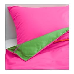 "STICKAT duvet cover and pillowcase(s), pink, green Thread count: 146 square inches Duvet cover length: 86 "" Duvet cover width: 64 "" Thread count: 146 square inches Duvet cover length: 218 cm Duvet cover width: 162 cm"