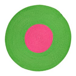 "STICKAT rug, braided, green, pink Diameter: 2 ' 6 "" Area: 4.74 sq feet Diameter: 75 cm Area: 0.44 m²"