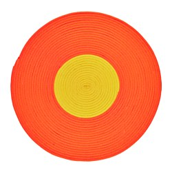 "STICKAT rug, braided, yellow, orange Diameter: 2 ' 6 "" Area: 4.74 sq feet Diameter: 75 cm Area: 0.44 m²"