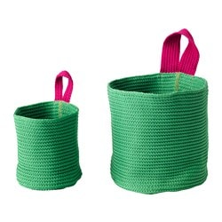 STICKAT basket, set of 2, pink, green Height: 20 cm