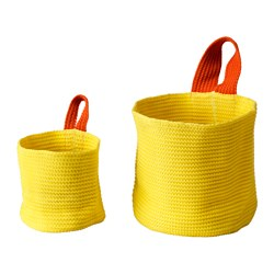 STICKAT basket, set of 2, orange, yellow Height: 20 cm