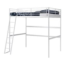 "TROMSÖ loft bed frame, white Length: 78 "" Distance from floor to bed base: 64 5/8 "" Width: 55 1/2 "" Length: 198 cm Distance from floor to bed base: 164 cm Width: 141 cm"