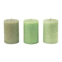 LUGGA scented block candle, Summer meadow green Diameter: 7 cm Height: 10 cm Burning time: 30 hr