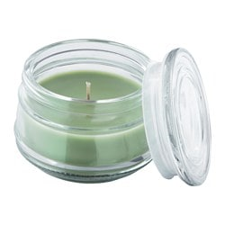 LUGGA scented candle in glass, Summer meadow green Height: 7.5 cm Burning time: 20 hr