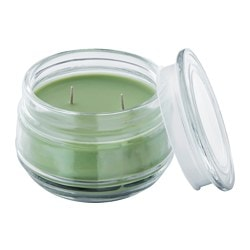 LUGGA scented candle in glass, 2 wicks, Summer meadow green Height: 10 cm Burning time: 50 hr