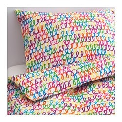 "STICKAT duvet cover and pillowcase(s), multicolor Thread count: 106 square inches Duvet cover length: 86 "" Duvet cover width: 64 "" Thread count: 106 square inches Duvet cover length: 218 cm Duvet cover width: 162 cm"