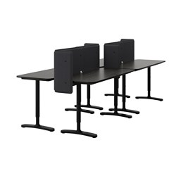BEKANT desk combination, black-brown, black Screen height: 55 cm Length: 280 cm Depth: 120 cm