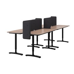 "BEKANT workstation, gray, black Screen height: 21 5/8 "" Length: 110 1/4 "" Depth: 47 1/4 "" Screen height: 55 cm Length: 280 cm Depth: 120 cm"