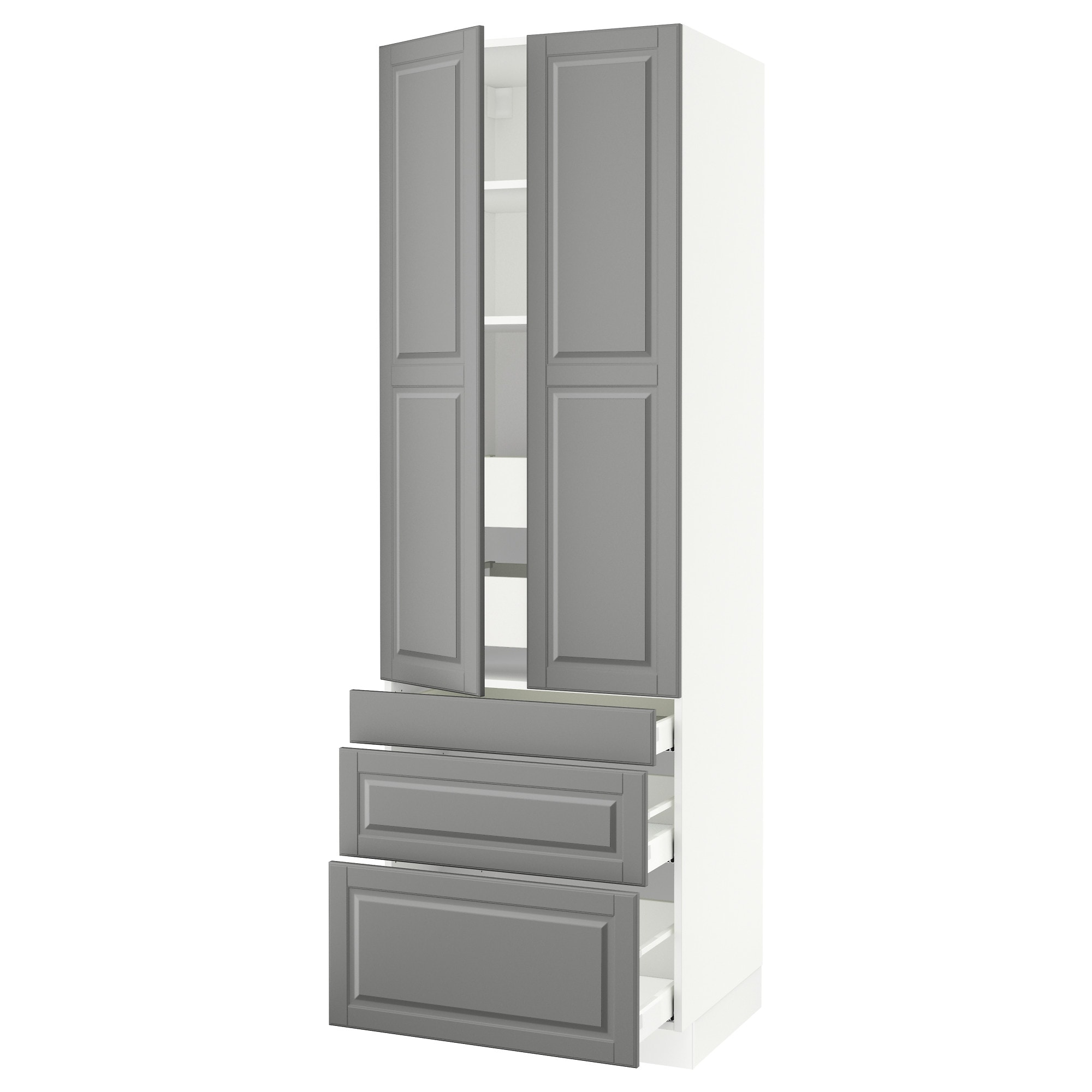 SEKTION high cabinet w/2 doors & 5 drawers, white Maximera, Bodbyn gray