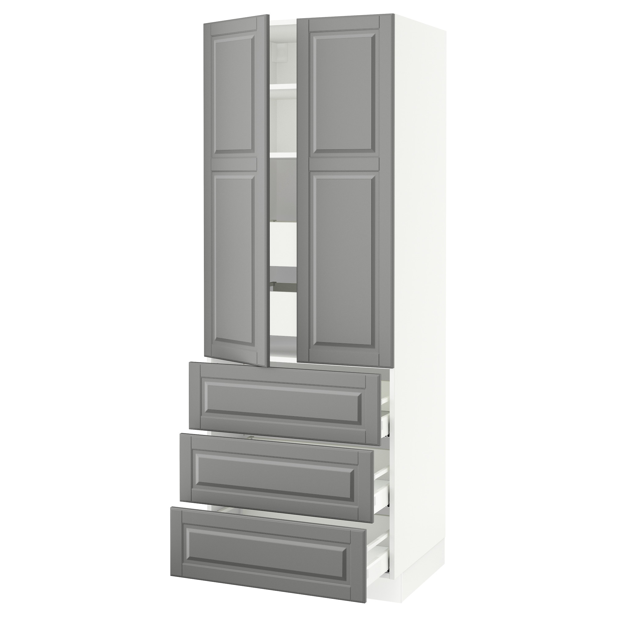 Sektion High Cabinet W 2 Doors 5 Drawers White Ma Bodbyn Gray 30x24x90 Ikea