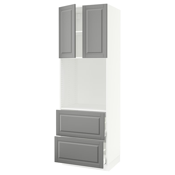 Sektion High Oven Cabinet 2 Drawers 2 Doors White Maximera Bodbyn Gray