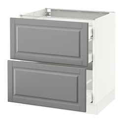 SEKTION base cab with 2 fronts/3 drawers, white Maximera, Bodbyn gray