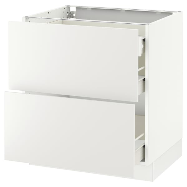 SEKTION Base cab with 2 fronts/3 drawers, white Förvara, Häggeby white