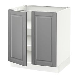 Sektion Base Cabinet With Shelves 2 Doors White Bodbyn Gray Width 30