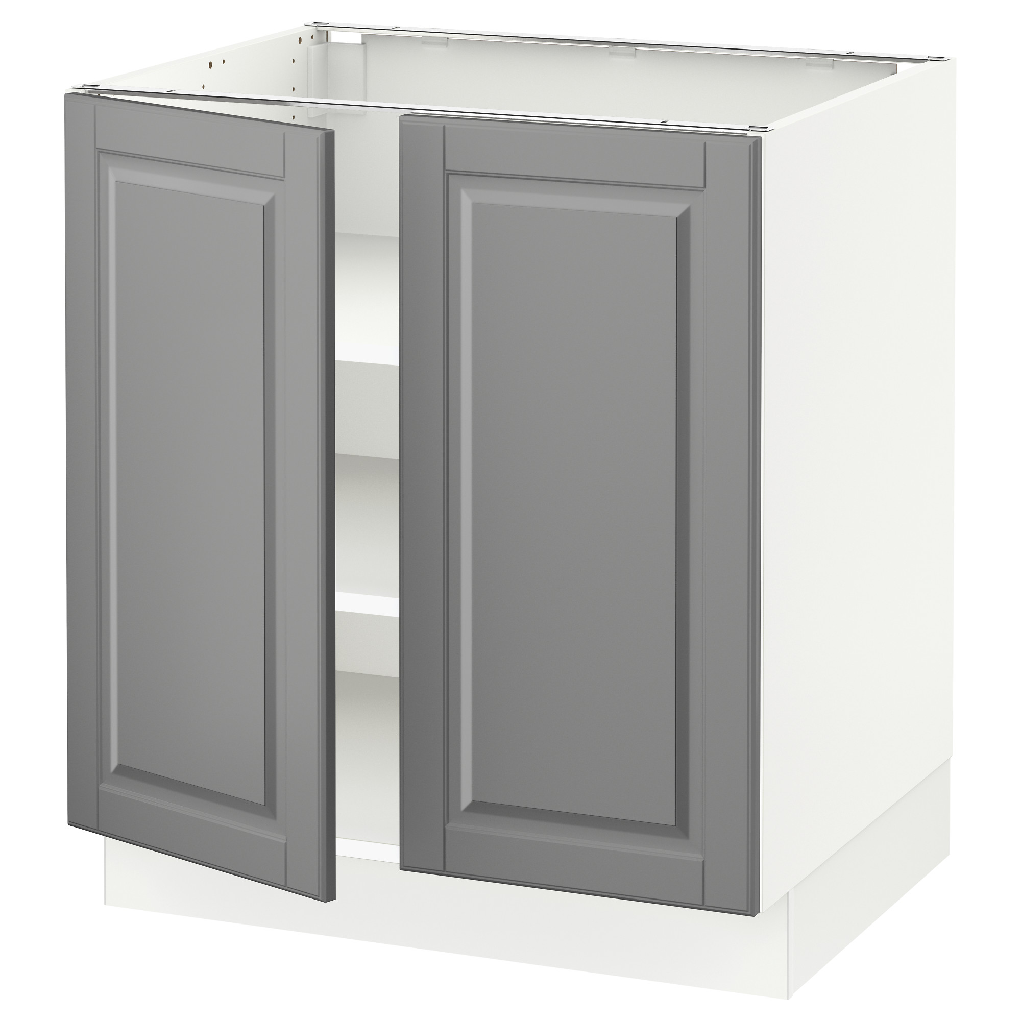 SEKTION Base Cabinet With Shelves/2 Doors, White, Bodbyn Gray Width: 30