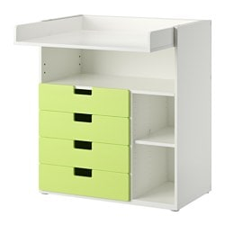 STUVA changing table with 4 drawers, white, green Width: 90 cm Depth: 79 cm Height: 102 cm