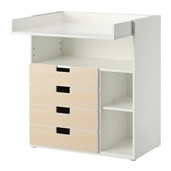 "STUVA changing table with 4 drawers, white, birch Width: 35 3/8 "" Depth: 31 1/8 "" Height: 40 1/8 "" Width: 90 cm Depth: 79 cm Height: 102 cm"