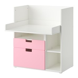 STUVA play table with 2 drawers, pink, white Width: 90 cm Depth: 79 cm Height: 102 cm