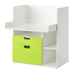 "STUVA play table with 2 drawers, green, white Width: 35 3/8 "" Depth: 31 1/8 "" Height: 40 1/8 "" Width: 90 cm Depth: 79 cm Height: 102 cm"
