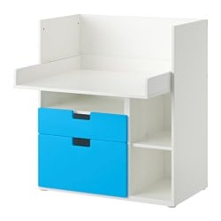 STUVA play table with 2 drawers, blue, white Width: 90 cm Depth: 79 cm Height: 102 cm