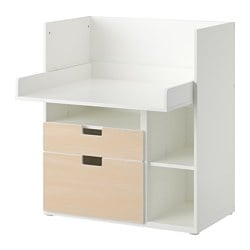 "STUVA play table with 2 drawers, birch, white Width: 35 3/8 "" Depth: 31 1/8 "" Height: 40 1/8 "" Width: 90 cm Depth: 79 cm Height: 102 cm"