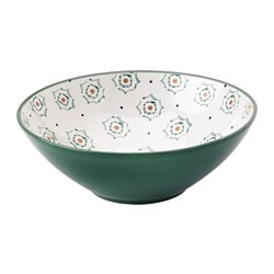 DUKNING bowl, green, patterned Diameter: 19 cm Height: 7 cm