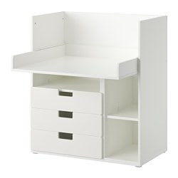 "STUVA desk with 3 drawers, white Width: 35 3/8 "" Depth: 31 1/8 "" Height: 40 1/8 "" Width: 90 cm Depth: 79 cm Height: 102 cm"