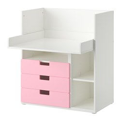 STUVA desk with 3 drawers, pink, white Width: 90 cm Depth: 79 cm Height: 102 cm