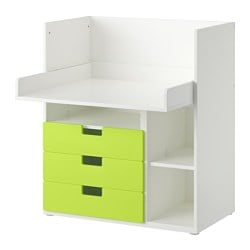 STUVA desk with 3 drawers, white, green Width: 90 cm Depth: 79 cm Height: 102 cm