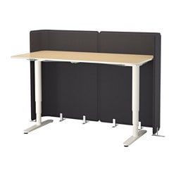 BEKANT reception desk sit/stand, white, birch veneer Screen height: 120 cm Length: 160 cm Width: 80 cm