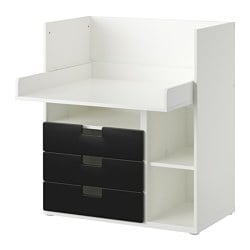 "STUVA desk with 3 drawers, black, white Width: 35 3/8 "" Depth: 31 1/8 "" Height: 40 1/8 "" Width: 90 cm Depth: 79 cm Height: 102 cm"