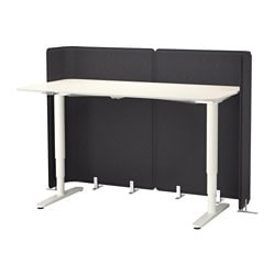 BEKANT reception desk sit/stand, white Screen height: 120 cm Length: 160 cm Width: 80 cm