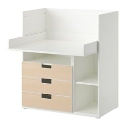STUVA desk with 3 drawers, birch, white Width: 90 cm Depth: 79 cm Height: 102 cm