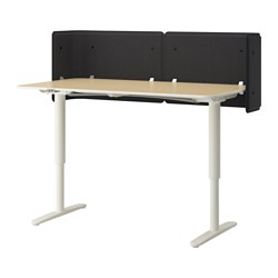 BEKANT reception desk sit/stand, white, birch veneer Screen height: 55 cm Length: 160 cm Width: 80 cm