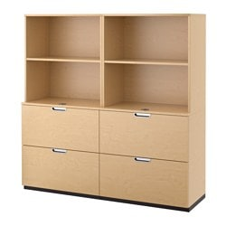 GALANT storage combination with filing, birch veneer Width: 160 cm Depth: 45 cm Height: 160 cm