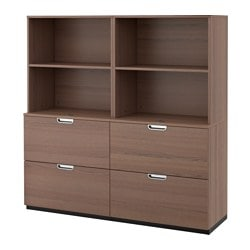 "GALANT storage combination with filing, gray Width: 63 "" Depth: 17 3/4 "" Height: 63 "" Width: 160 cm Depth: 45 cm Height: 160 cm"