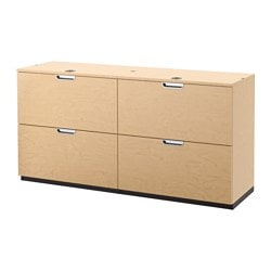 GALANT storage combination with filing, birch veneer Width: 160 cm Depth: 45 cm Height: 80 cm