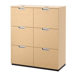 GALANT storage combination with filing, birch veneer Width: 102 cm Depth: 45 cm Height: 120 cm