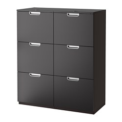 GALANT storage combination with filing, black-brown Width: 102 cm Depth: 45 cm Height: 120 cm