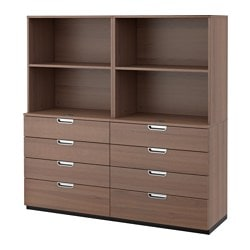 "GALANT storage combination with drawers, gray Width: 63 "" Depth: 17 3/4 "" Height: 63 "" Width: 160 cm Depth: 45 cm Height: 160 cm"