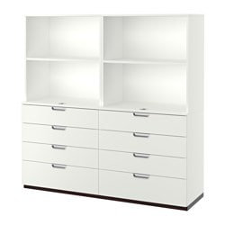 GALANT storage combination with drawers, white Depth: 45 cm Height: 160 cm Width: 160 cm