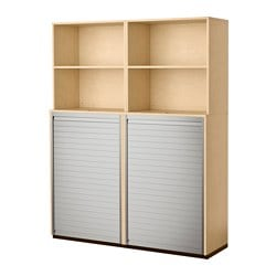 GALANT storage combination with roll-front, birch veneer Width: 160 cm Depth: 45 cm Height: 200 cm