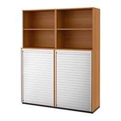 GALANT storage combination with roll-front, oak veneer Width: 160 cm Depth: 45 cm Height: 200 cm