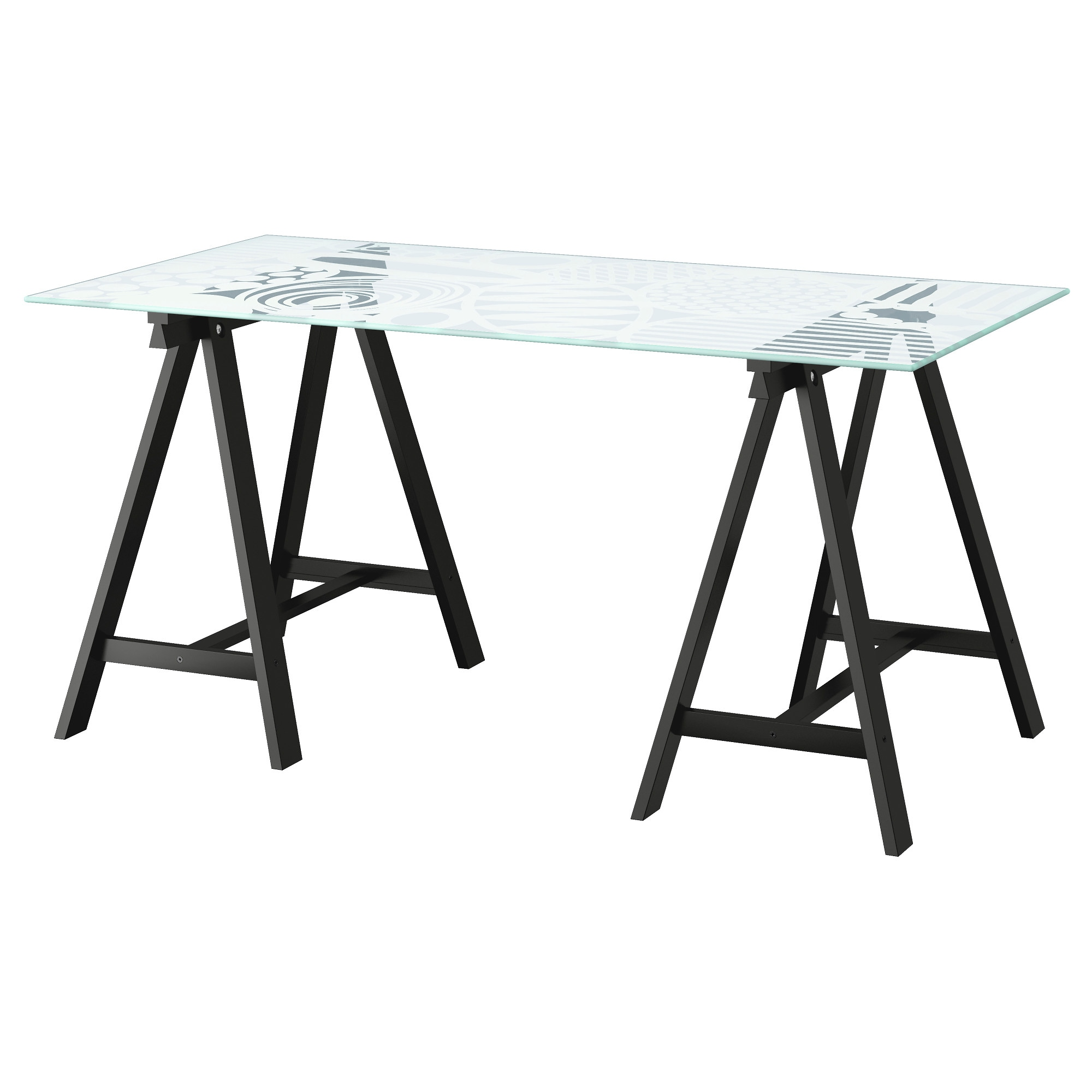 Ikea glass table desk - Glasholm Oddvald Table Glass Egg Pattern Black Length 58 1 4