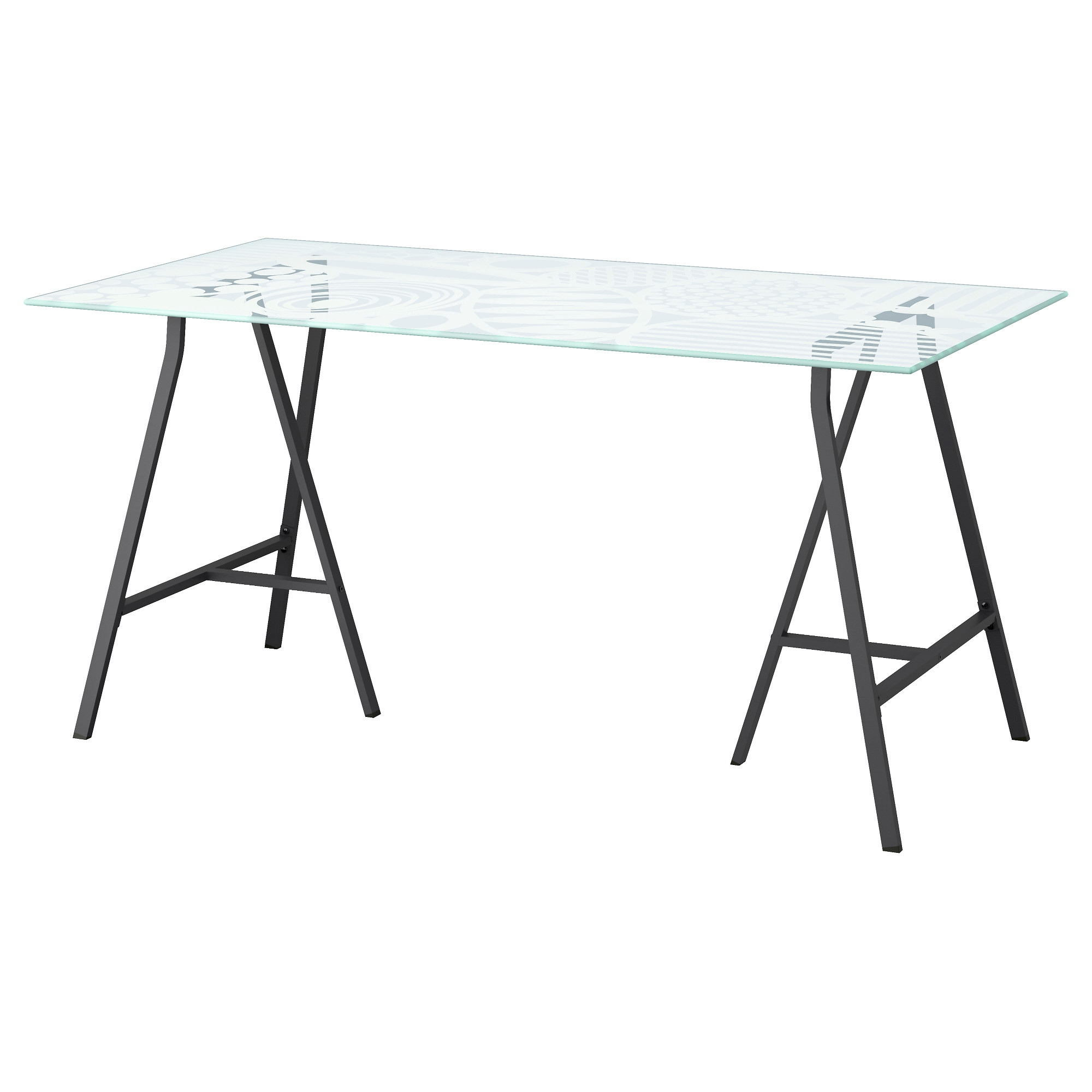 Ikea glass table desk - Glasholm Lerberg Table Glass Egg Pattern Gray Length 58 1 4