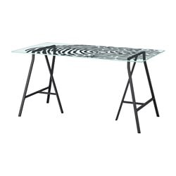 GLASHOLM /  LERBERG table, glass, fingerprint pattern grey Length: 148 cm Width: 73 cm Height: 71 cm