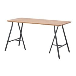 HILVER /  LERBERG table, bamboo, gray