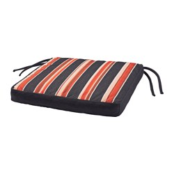 EKERÖN chair cushion, outdoor, stripe, black Width: 40 cm Depth: 40 cm Thickness: 5 cm